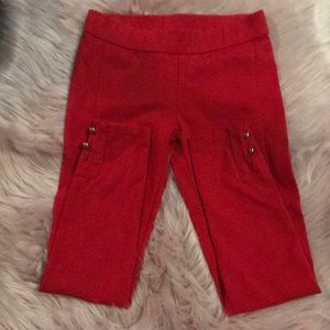 Janie and Jack - Red Ponte Pants with Gold Buttons
